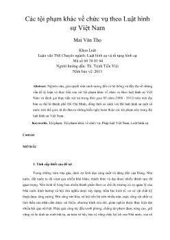 Các tội phạm khác về chức vụ theo Luật hình sự Việt Nam