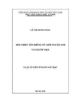 Luận án Đối chiếu tên riêng nữ giới người Anh và người Việt