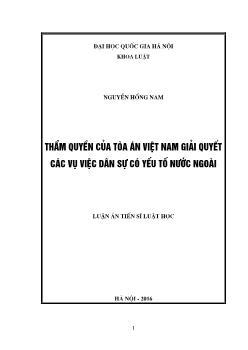 Luận án Thẩm quyền của tòa án Việt Nam giải quyết các vụ việc dân sự có yếu tố nước ngoài