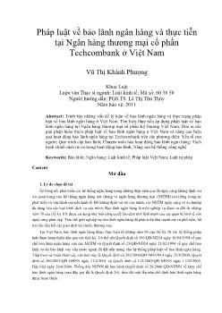 Pháp luật về bảo lãnh ngân hàng và thực tiễn tại Ngân hàng thương mại cổ phần Techcombank ở Việt Nam