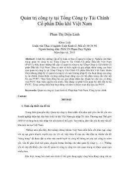 Quản trị công ty ở Tổng Công ty Tài Chính Cổ phần Dầu khí Việt Nam