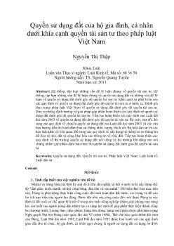 Quyền sử dụng đất của hộ gia đình, cá nhân dưới khía cạnh quyền tài sản tư theo pháp luật Việt Nam