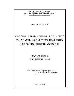 Luận văn Các giải pháp hạn chế rủi ro tín dụng tại ngân hàng đầu tư và phát triển Quảng ninh (BIDV Quảng Ninh)