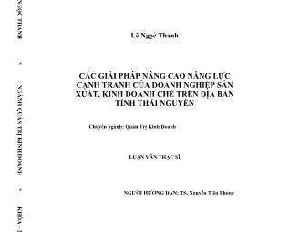 Luận văn Các giải pháp nâng cao năng lực cạnh tranh của doanh nghiệp sản xuất, kinh doanh chè trên địa bàn tỉnh Thái Nguyên