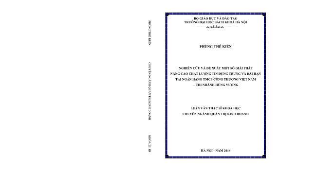 Luận văn Nghiên cứu và đề xuất một số giải pháp nâng cao chất lượng tín dụng trung và dài hạn tại ngân hàng tmcp công thương Việt Nam – Chi nhánh Hùng Vương