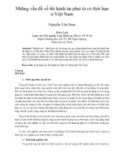 Luận văn Những vấn đề về thi hành án phạt tù có thời hạn ở Việt Nam