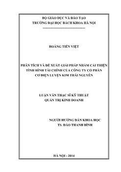 Luận văn Phân tích và đề xuất giải pháp nhằm cải thiện tình hình tài chính của công ty cổ phần cơ điện luyện kim Thái Nguyên