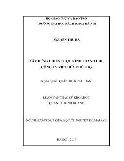 Luận văn Xây dựng chiến lược kinh doanh cho công ty Việt đức Phú Thọ