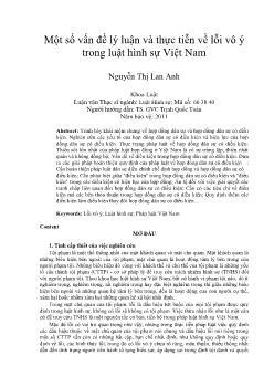Một số vấn đề lý luận và thực tiễn về lỗi vô ý trong luật hình sự Việt Nam