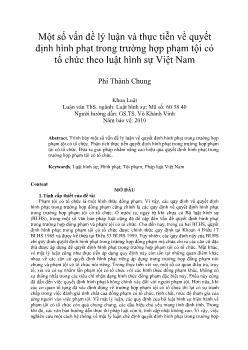 Một số vấn đề lý luận và thực tiễn về quyết định hình phạt trong trường hợp phạm tội có tổ chức theo luật hình sự Việt Nam