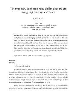 Tội mua bán, đánh tráo hoặc chiếm đoạt trẻ em trong luật hình sự Việt Nam