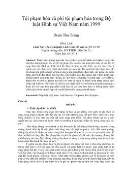 Tội phạm hóa và phi tội phạm hóa trong Bộ luật Hình sự Việt Nam năm 1999