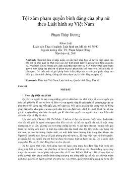 Tội xâm phạm quyền bình đẳng của phụ nữ theo Luật hình sự Việt Nam