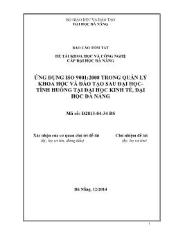Đề tài Ứng dụng iso 9001 : 2008 trong quản lý khoa học và đào tạo sau đại học tình huống tại đại học kinh tế, đại học Đà Nẵng