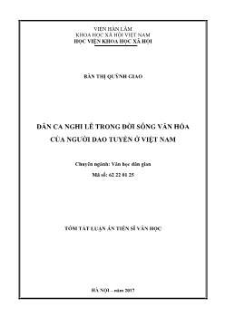 Tóm tắt Luận án Dân ca nghi lễ trong đời sống văn hóa của người dao tuyển ở Việt Nam