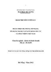 Tóm tắt Luận văn Hoàn thiện hệ thống xếp hạng tín dụng nội bộ tại Ngân hàng Đầu tư và Phát triển Việt Nam