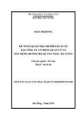 Tóm tắt Luận văn Kế toán quản trị chi phí sản xuất tại Công ty Cổ phần Quản lý và xây dựng đường bộ Quảng Nam - Đà Nẵng