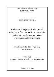 Tóm tắt Luận văn Phân tích hiệu quả tài chính của các công ty ngành thủy sản niêm yết trên thị trường chứng khoán Việt Nam