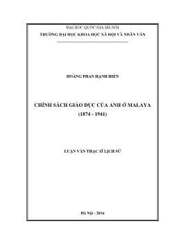 Lịch sử Thế giới - Chính sách giáo dục của Anh ở Malaya (1874 - 1941)