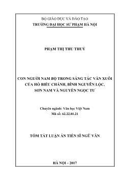 Luận án Con người nam bộ trong sáng tác văn xuôi của Hồ Biểu Chánh, Bình Nguyên Lộc, Sơn Nam và Nguyễn Ngọc Tư