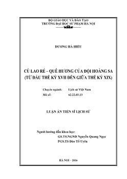 Luận văn Cù Lao Ré – quê hương của đội Hoàng Sa (Từ đầu thế kỷ XVII đến giữa thế kỷ XIX)