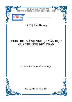 Luận văn Cuộc đời và sự nghiệp văn học của Trương Duy Toản