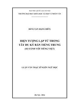 Luận văn Hiện tượng lặp từ trong Tây du ký bản tiếng Trung (so sánh với Tiếng Việt)