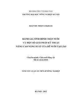 Tóm tắt Luận án Ðánh giá tình hình chăn nuôi và một số giải pháp kỹ thuật nâng cao năng suất của dê nuôi tại Lào