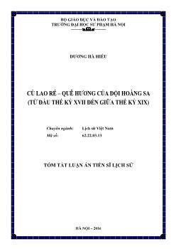Tóm tắt Luận án Cù Lao Ré – quê hương của đội Hoàng Sa (Từ thế kỷ XVII đến giữa thế kỷ XIX)
