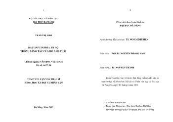 Tóm tắt Luận văn Dấu ấn văn hóa Ấn Độ trong sáng tác của Hồ Anh Thái