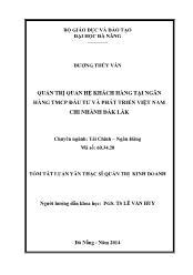 Tóm tắt Luận văn Quản trị quan hệ khách hàng tại Ngân hàng TMCP Đầu tư và phát triển Việt Nam - Chi nhánh ĐắkLắk