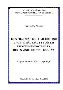 Biện pháp giáo dục tính thủ lĩnh cho trẻ mẫu giáo 5-6 tuổi tại trường mầm non Phú Lý, huyện Vĩnh Cửu, tỉnh Đồng Nai