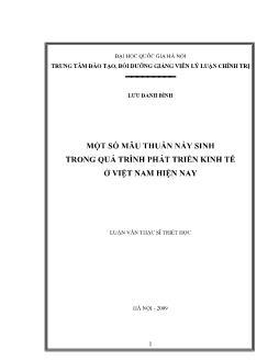 Luận văn Một số mâu thuẫn nảy sinh trong quá trình phát triển kinh tế ở Việt Nam hiện nay