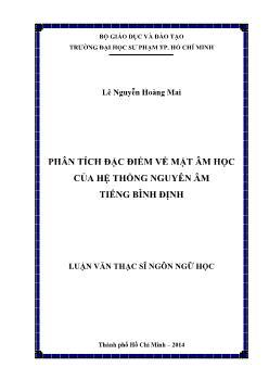 Luận văn Phân tích đặc điểm về mặt âm học của hệ thống nguyên âm tiếng Bình Định
