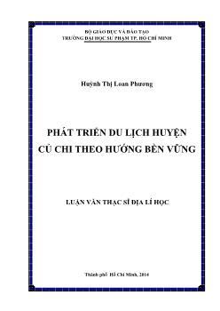 Luận văn Phát triển du lịch huyện Củ Chi theo hướng bền vững