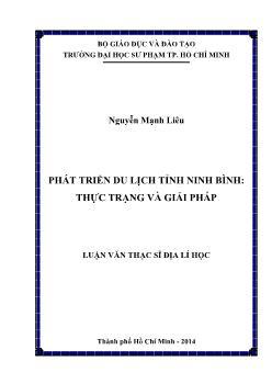 Luận văn Phát triển du lịch tỉnh Ninh Bình: thực trạng và giải pháp
