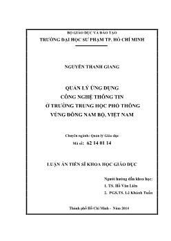 Luận văn Quản lý ứng dụng công nghệ thông tin ở trường trung học phổ thông vùng Đông nam bộ, Việt Nam