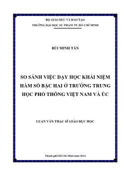 Luận văn So sánh việc dạy học khái niệm hàm số bậc hai ở trường trung học phổ thông Việt Nam và Úc