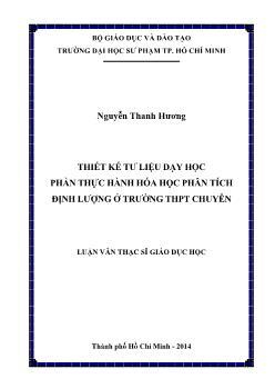 Luận văn Thiết kế tư liệu dạy học phần thực hành hóa học phân tích định lượng ở trường THPT chuyên