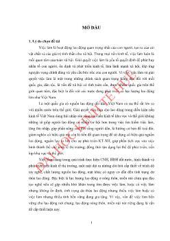 Luận văn Việc làm bền vững đối với lao động miền núi huyện Hương Trà, tỉnh Thừa Thiên Huế