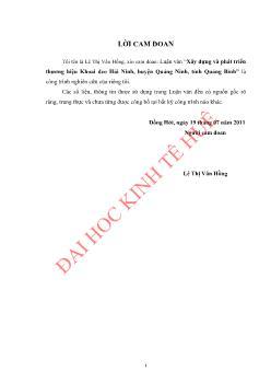 Luận văn Xây dựng và phát triển thương hiệu Khoai deo Hải Ninh, huyện Quảng Ninh, tỉnh Quảng Bình