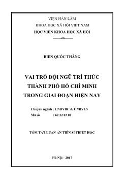 Tóm tắt Luận án Vai trò đội ngũ trí thức thành phố Hồ Chí Minh trong giai đoạn hiện nay