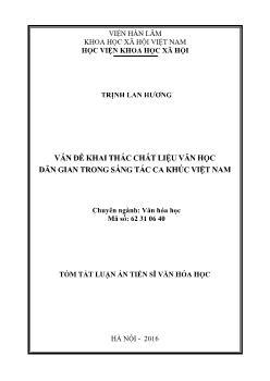 Tóm tắt Luận án Vấn đề khai thác chất liệu văn học dân gian trong sáng tác ca khúc Việt Nam