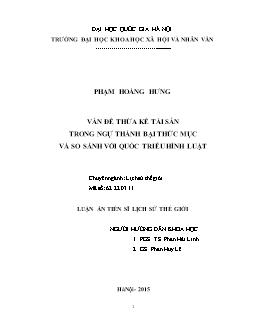 Tóm tắt Luận án Vấn đề thừa kế tài sản trong Ngự thành bại thức mục và so sánh với Quốc triều hình luật