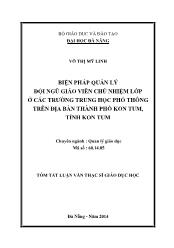 Tóm tắt Luận văn Biện pháp quản lý đội ngũ giáo viên chủ nhiệm lớp ở các trường Trung học phổ thông trên địa bàn thành phố Kon Tum, tỉnh Kon Tum
