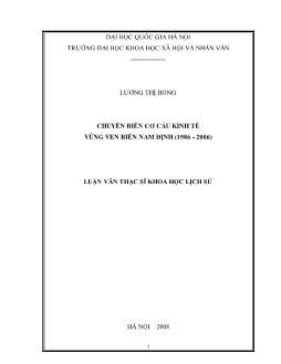 Tóm tắt Luận văn Chuyển biến cơ cấu kinh tế vùng ven biển Nam Định (1986 - 2006)