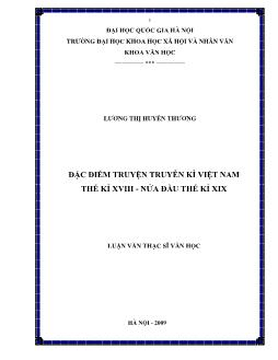 Tóm tắt Luận văn Đặc điểm truyện truyền kì Việt Nam thế kỉ XVIII - Nửa đầu thế kỉ XIX