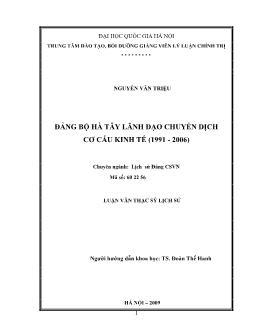 Tóm tắt Luận văn Đảng bộ Hà Tây lãnh đạo chuyển dịch cơ cấu kinh tế (1991 - 2006)