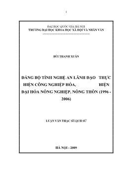 Tóm tắt Luận văn Đảng bộ tỉnh Nghệ An lãnh đạo thực hiện công nghiệp hóa, hiện đại hóa nông nghiệp, nông thôn (1996 - 2006)