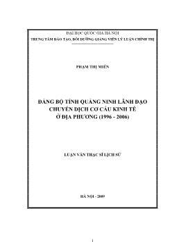 Tóm tắt Luận văn Đảng bộ tỉnh Quảng Ninh lãnh đạo chuyển dịch cơ cấu kinh tế ở địa phƣơng (1996 - 2006)